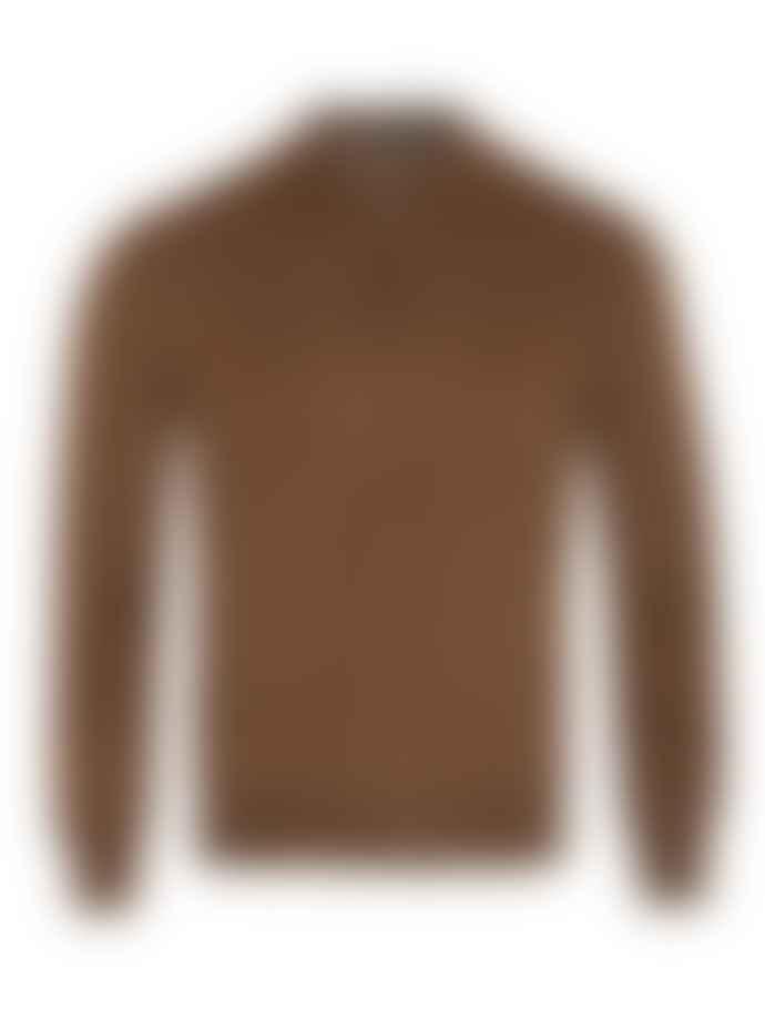 Corneliani Cashmere Silk Long Sleeve Zip Polo Tobacco