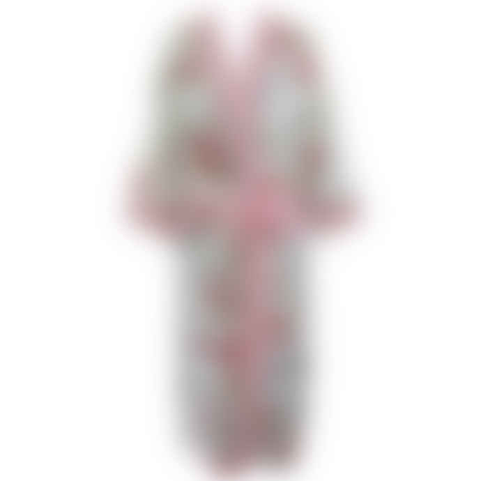 Powell Craft Ladies Red and Pink Rose Floral Print Cotton Dressing Gown