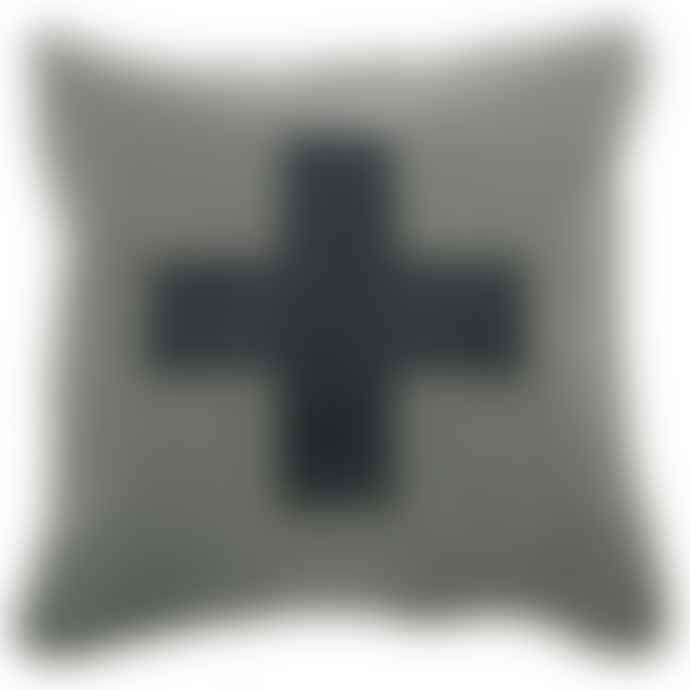 Alpine Lifestyle 45 x 45cm Grey Wool Modern Alpine Style Cushion with Cowhide Cross