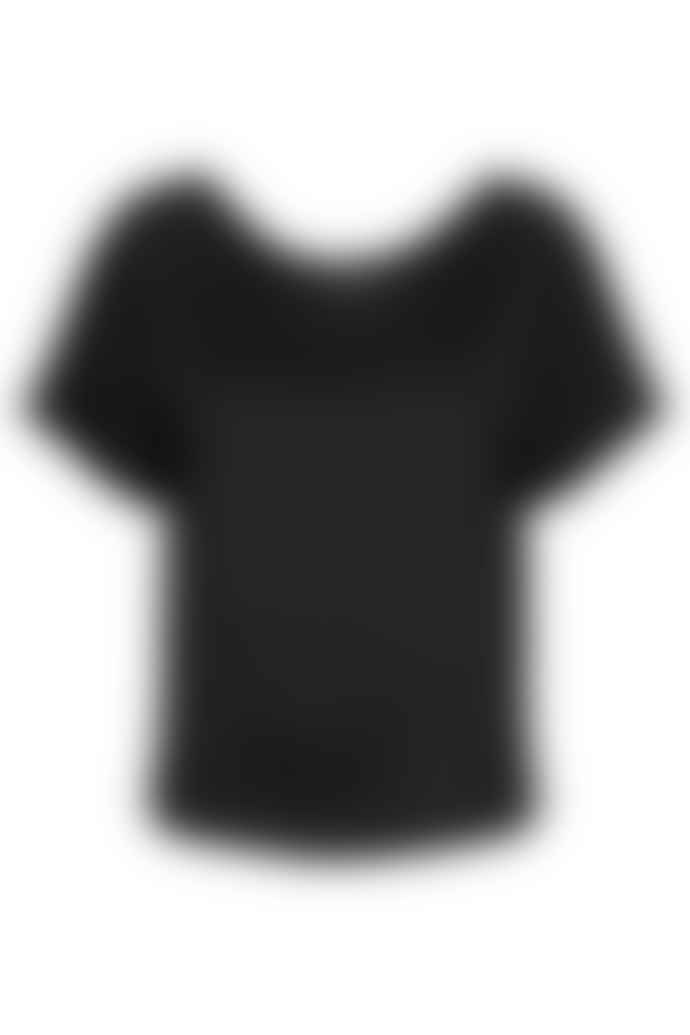 POP Copenhagen Black Silk Raglan Top