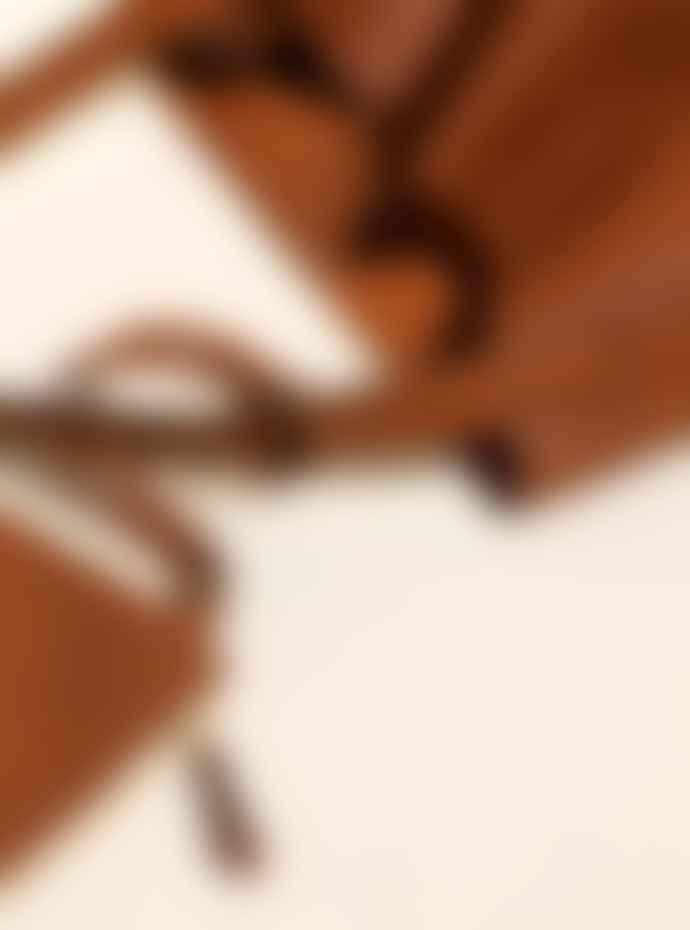 La Benjamine Large Cognac Cow Leather Shoulder Tote Bag