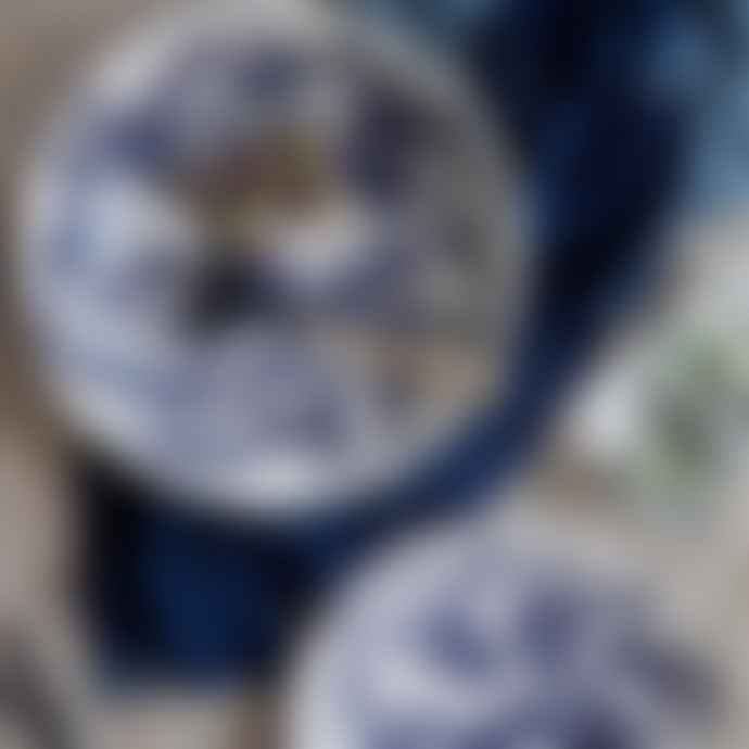 Canvas Home Set of 2 White and Blue Splatter Gerona Tapas Stoneware Dish