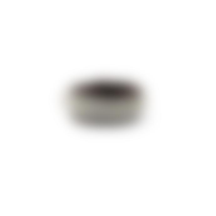 BeChristenen Medium Brown Leather Pewter Wire Sama Ring