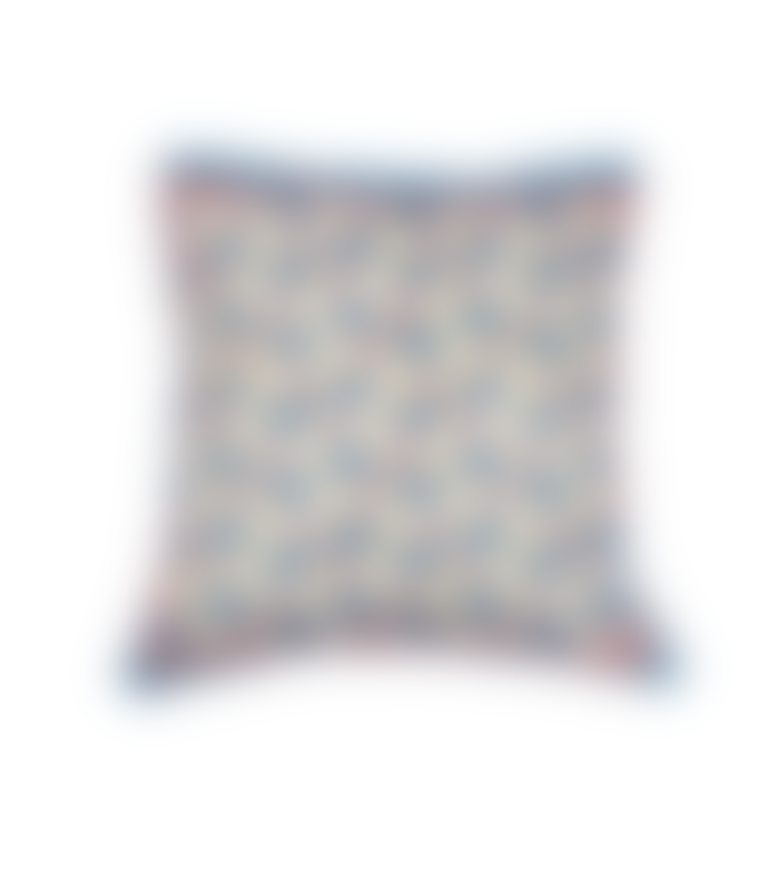 From Around BABY PEACOCK BLOCK PRINT CUSHION COVER - REVERSIBLE