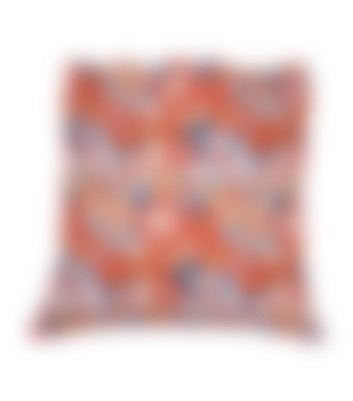 From Around FLOWERY BLOCK PRINT CUSHION COVER - REVERSIBLE