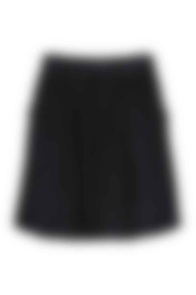 by-bar Jet Black Cotton Sally Cord Skirt