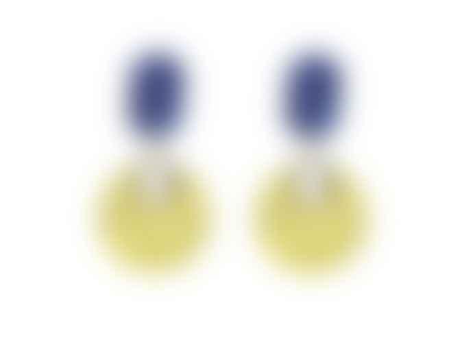 Big Metal Earrings 1910 Gertrude Two Tone Resin Blue Yellow