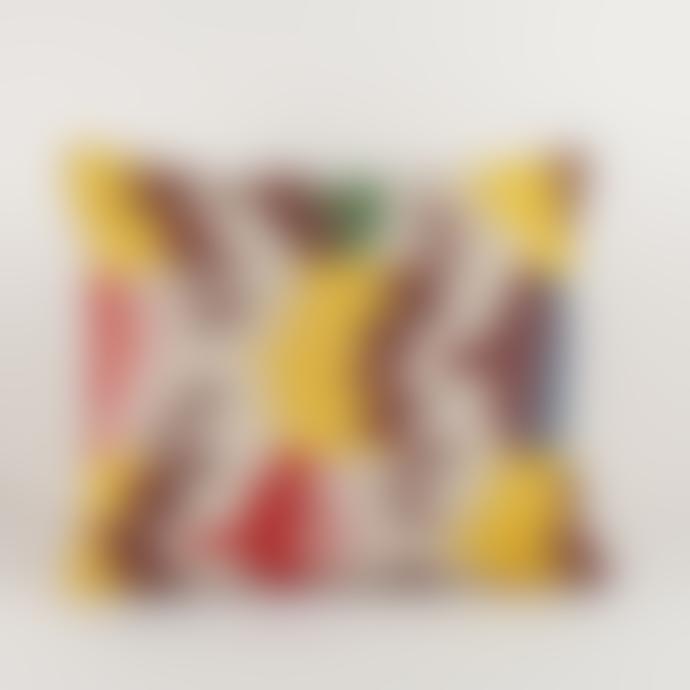 Nushka Rectangular Silk Velvet Hand woven Ikat Cushion