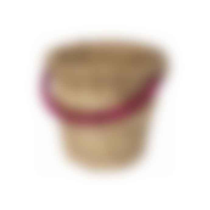 Return to Sender Small Natural and Pink Bucket Basket