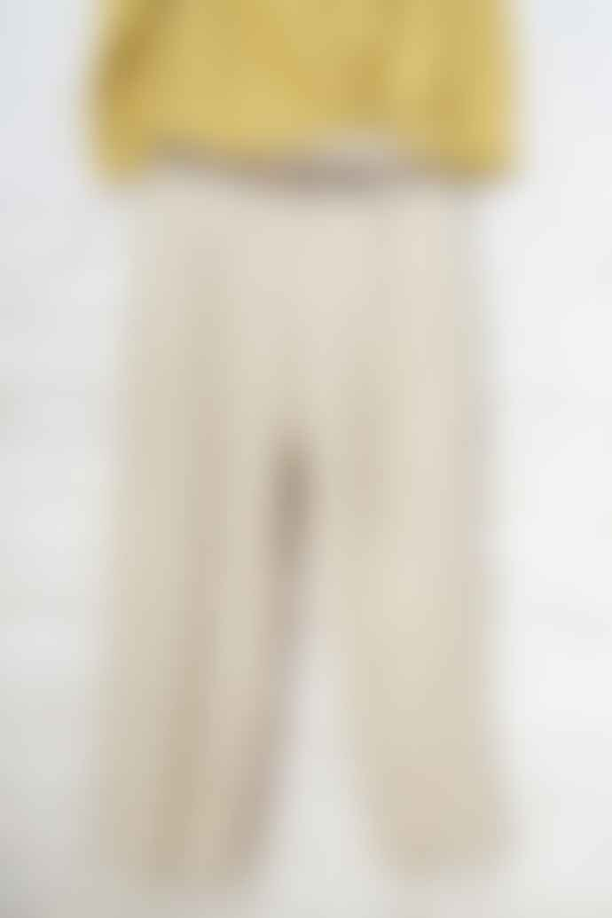 Pomandere Straight Leg Cropped Linen Mix Pants In Oatmeal