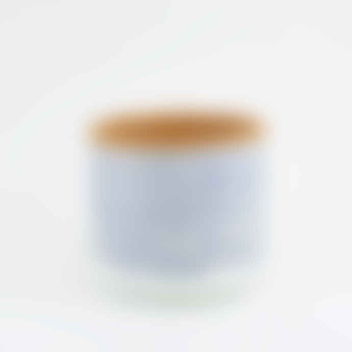 casa atlantica Blue Stripes Terracotta Pot S with saucer