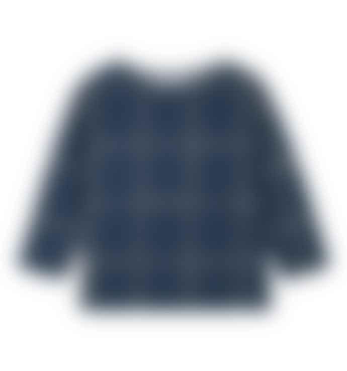 Le Petit Germain Sweater Indigo with check print