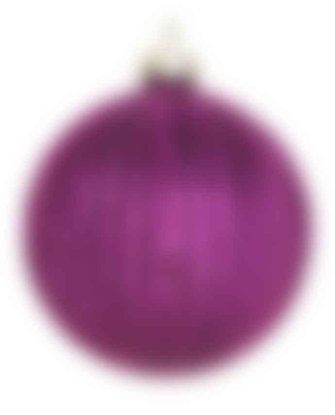 Gisela Graham Purple Ribbed Glitter Bauble