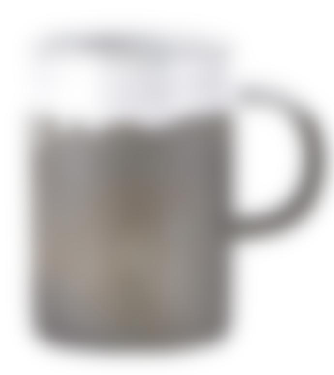 House Doctor Ceramic mug in grey/white 7xh10cm