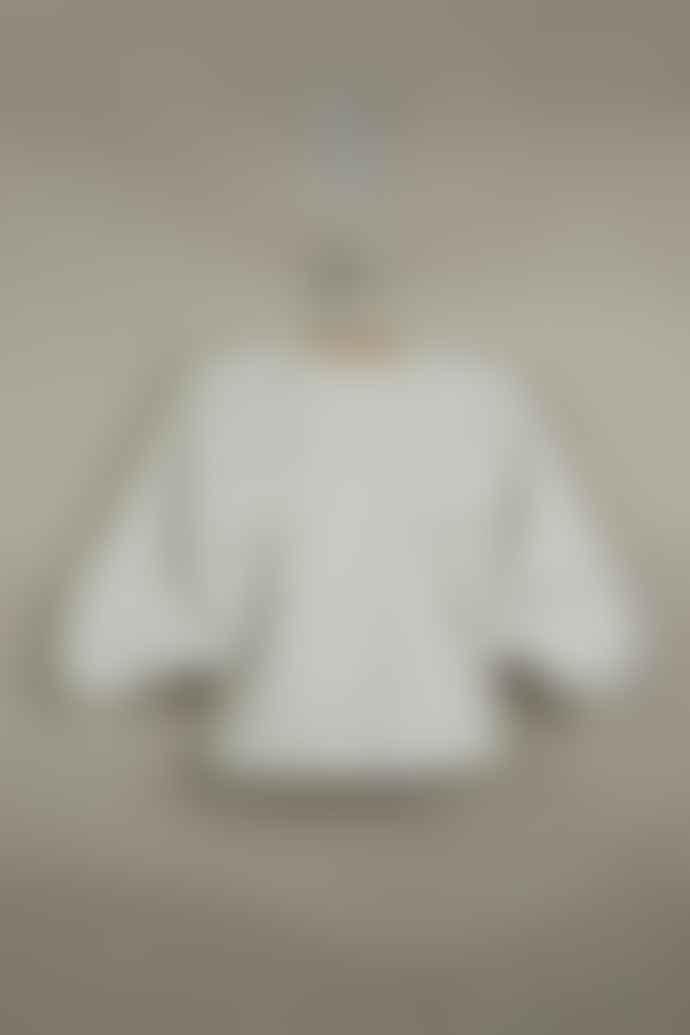 Popelin Off White Puffed Sleeve Shirt