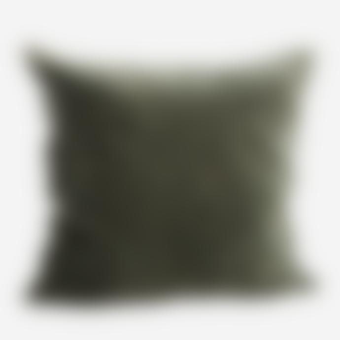 Madam Stoltz Velvet Cushion Dusty Green