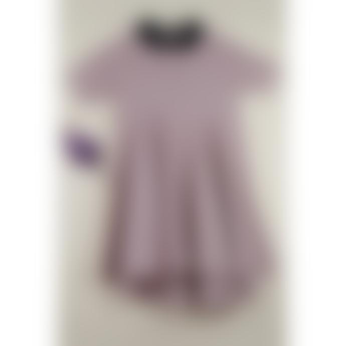 Popelin Pink with Black Collar Cloak Dress