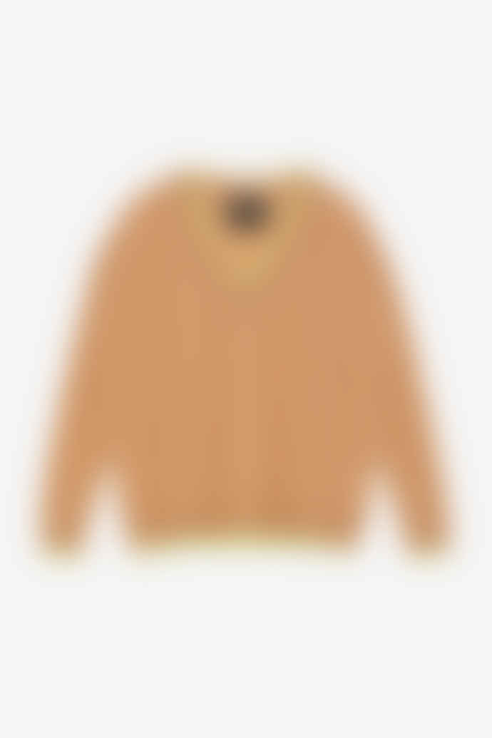 Otto D Ame Beige Contrasting Trims Wool Sweater