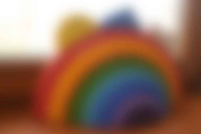 Handmade Wooden Toys Large Pastel Colours Stalking Rainbow Puzzle Toy