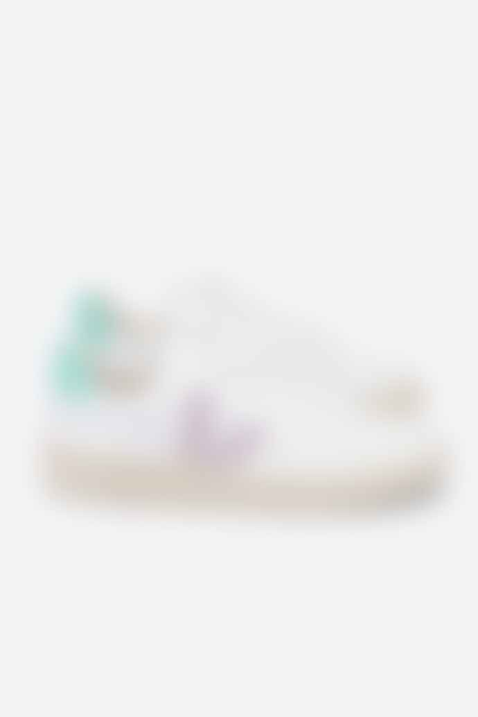 Veja V 12 White Parme Turquoise Leather Trainer Shoes