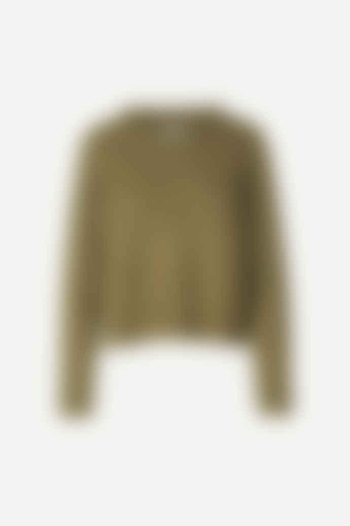 SamsoeSamsoe Nor on Short Green Khaki Sweater