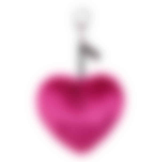 Faux Fur Luxury Heart Keyring Magenta