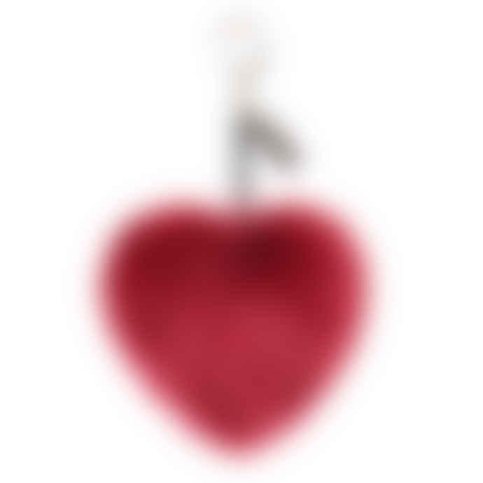 Faux Fur Luxury Heart Keyring Crimson Red