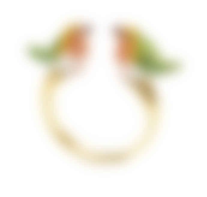 Nach Green Fir Robin Bird Face to Face Ring
