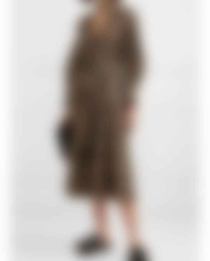 Ganni Belted Seersucker Midi Dress