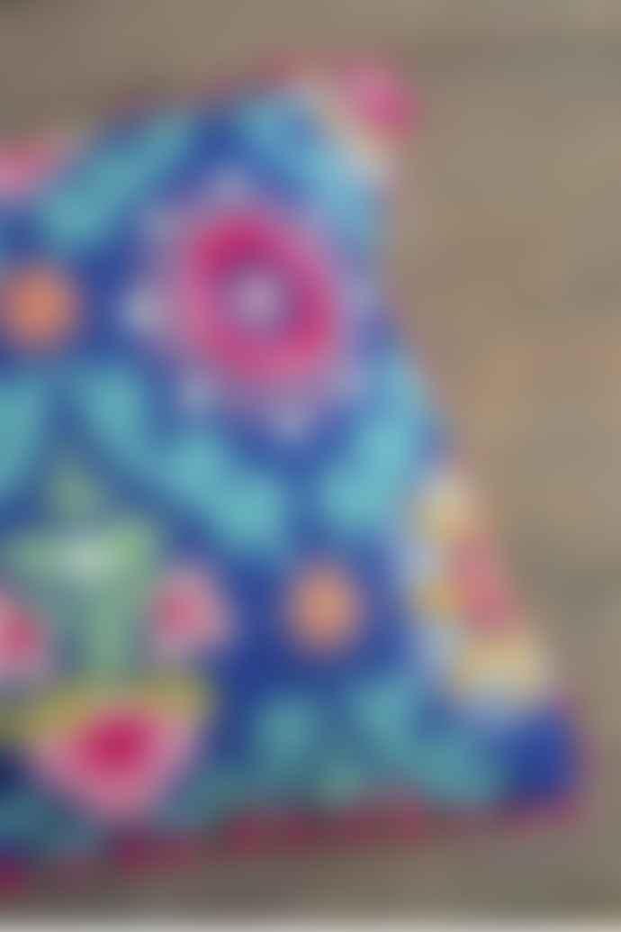 Ian Snow Blue Folk Art Embroidered Cotton Cushion Cover