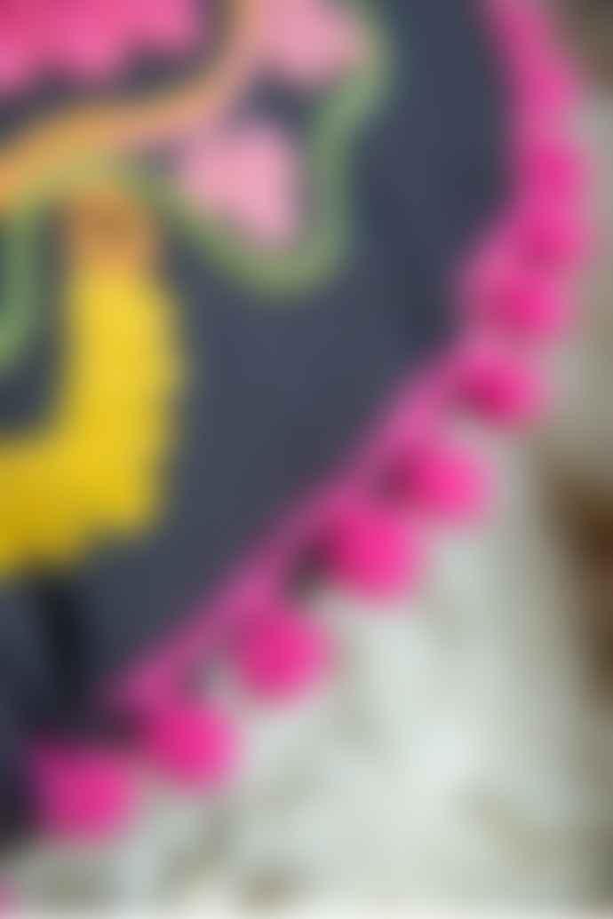 Ian Snow Black Folk Art Embroidered Cotton Gaddi