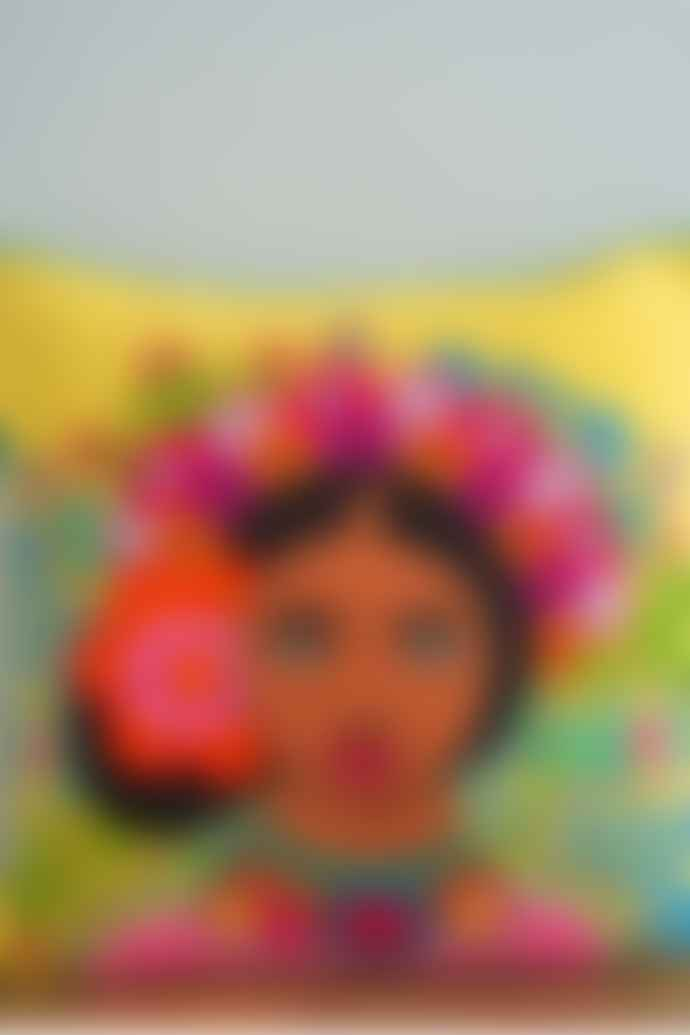 Ian Snow Yellow Frida Kahlo Floral Headress Embroidered Cotton Cushion Cover