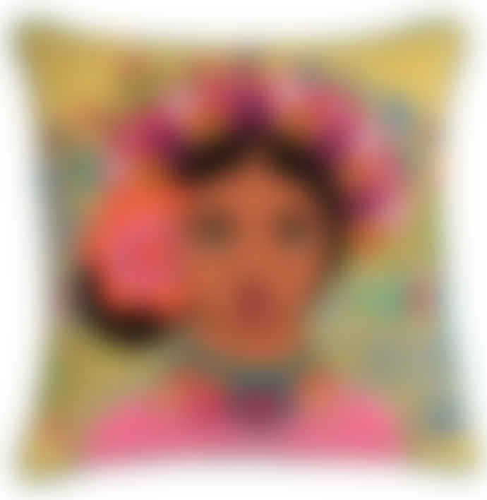 Ian Snow Yellow Frida Kahlo Floral Headress Embroidered Cotton Cushion