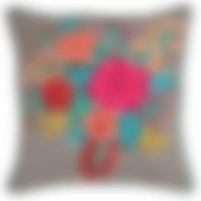 Ian Snow Zivan Black & White Stripe Embroidered Cotton Cushion Cover