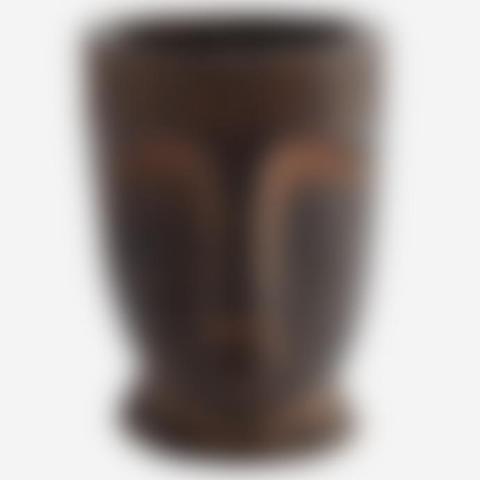 Madam Stoltz Fibre Clay Flower Pot W Face Imprint