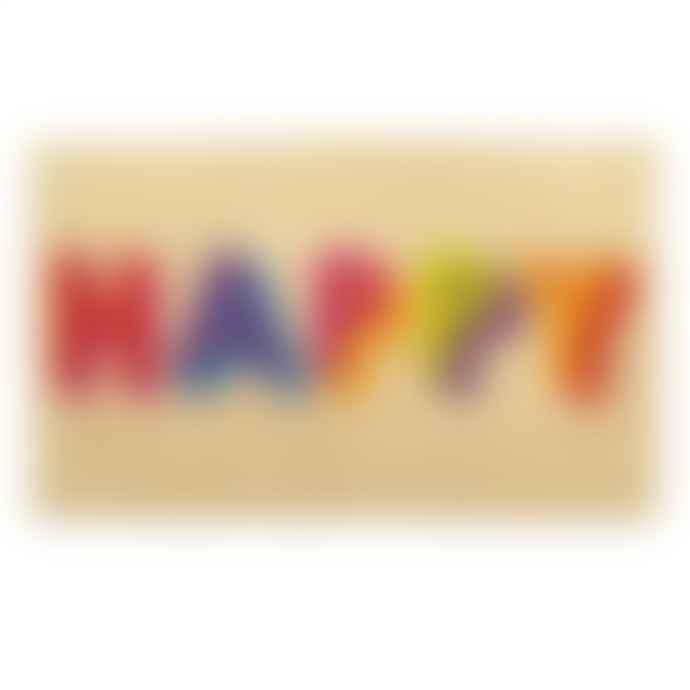 Bombay Duck Happy Block Letters Door Mat Neon