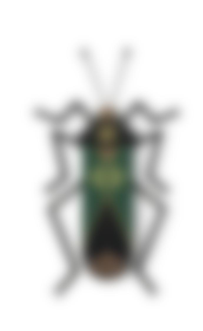 Umasqu Handmade Black Green and Gold Bug9 Wall Decor