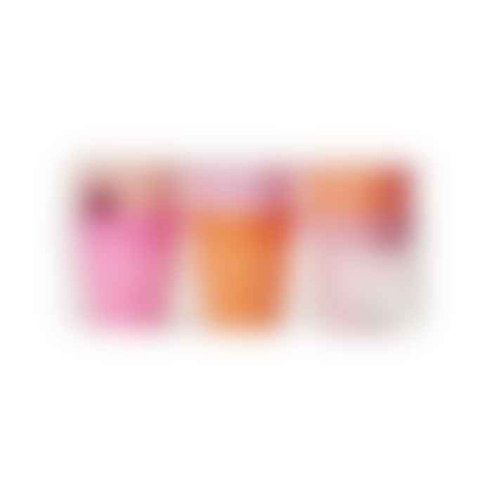 Rice D K  Set of Six Small Pink & Orange Melamine Cups