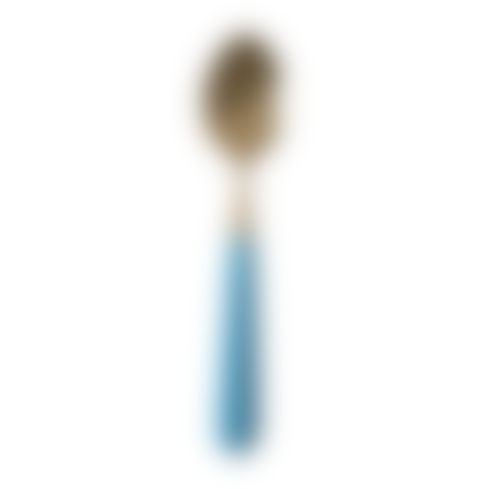 Rice D K  Spoon in Brass Look With Blue Ceramic Handle