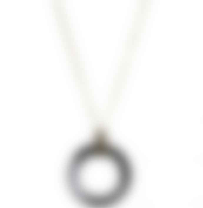 Big Metal 1762 Alice Faux Horn Long Pendant Necklace Grey