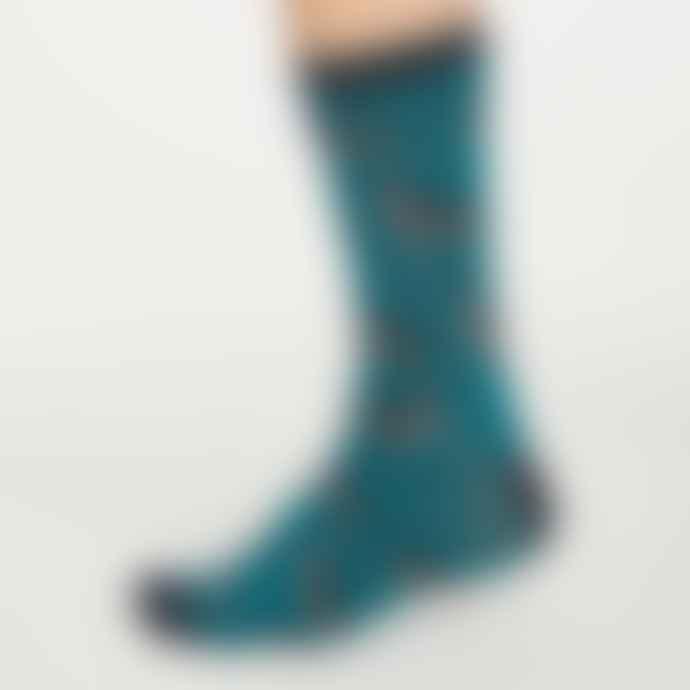 Lark London Thought Hound Dog Socks Deep Teal Size 7 11