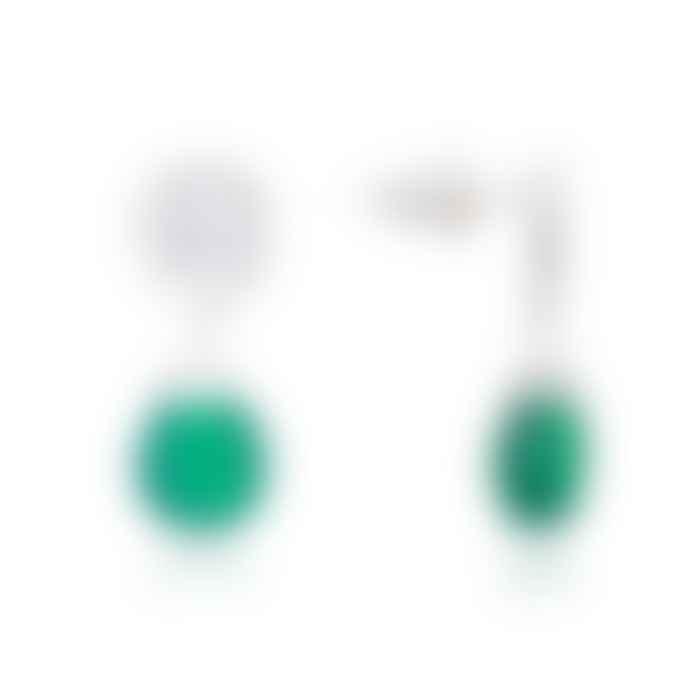 Lark London Silver Gemstone Drop Earring Green Onyx