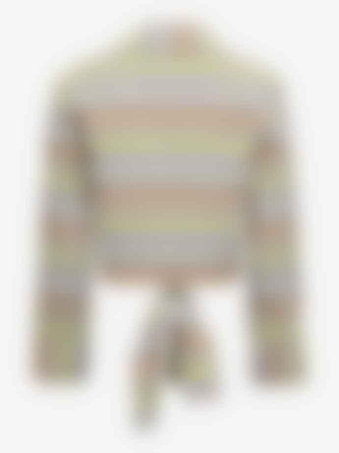 Baum und Pferdgarten Merona Cropped Tie Front Shirt Peach Yellow Black Check