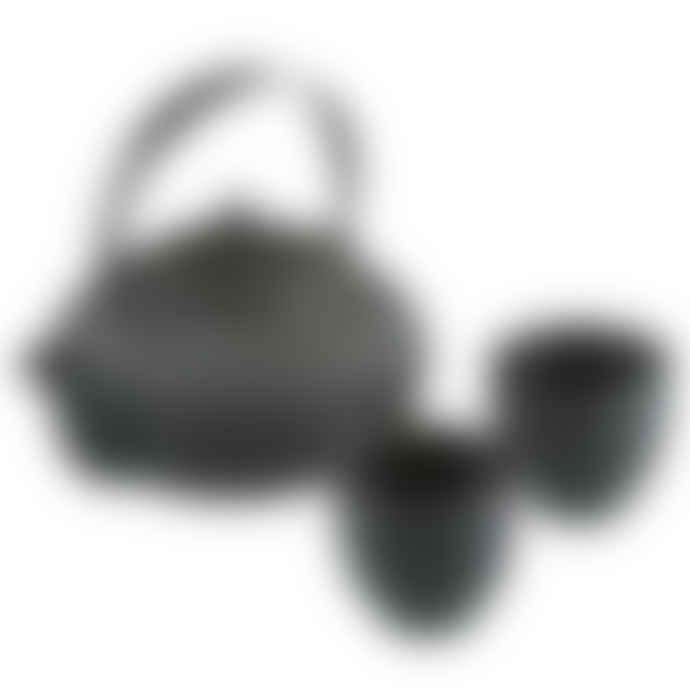 Argon Tableware Black  Iron Metal Teapot with Cups