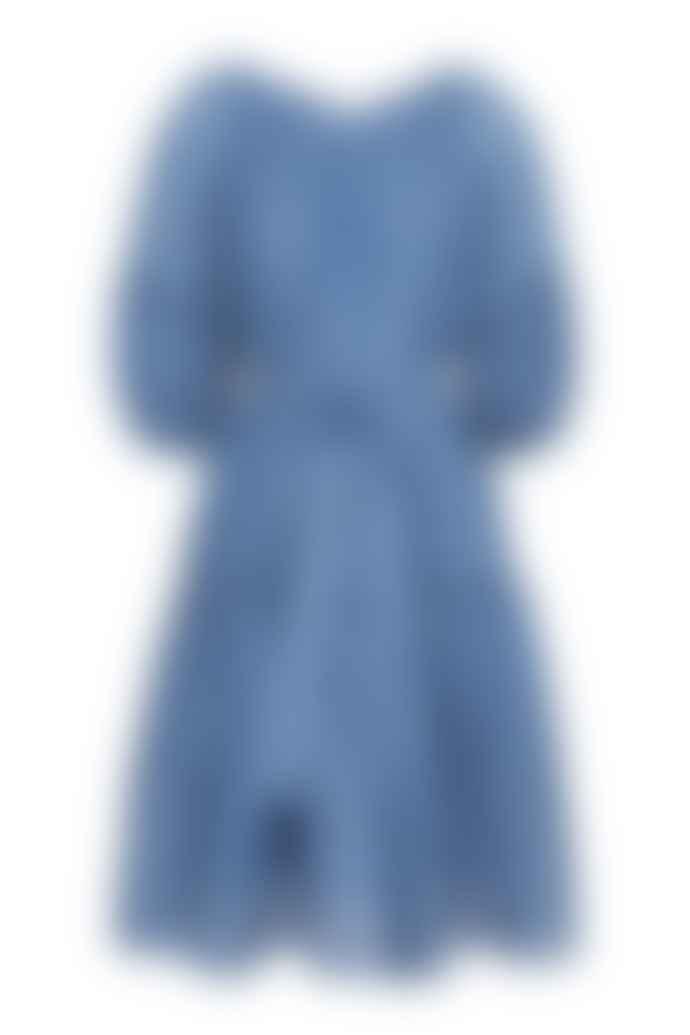 Cathrine Hammel Sheer Midi Short Sleeve Dress Denim Blue