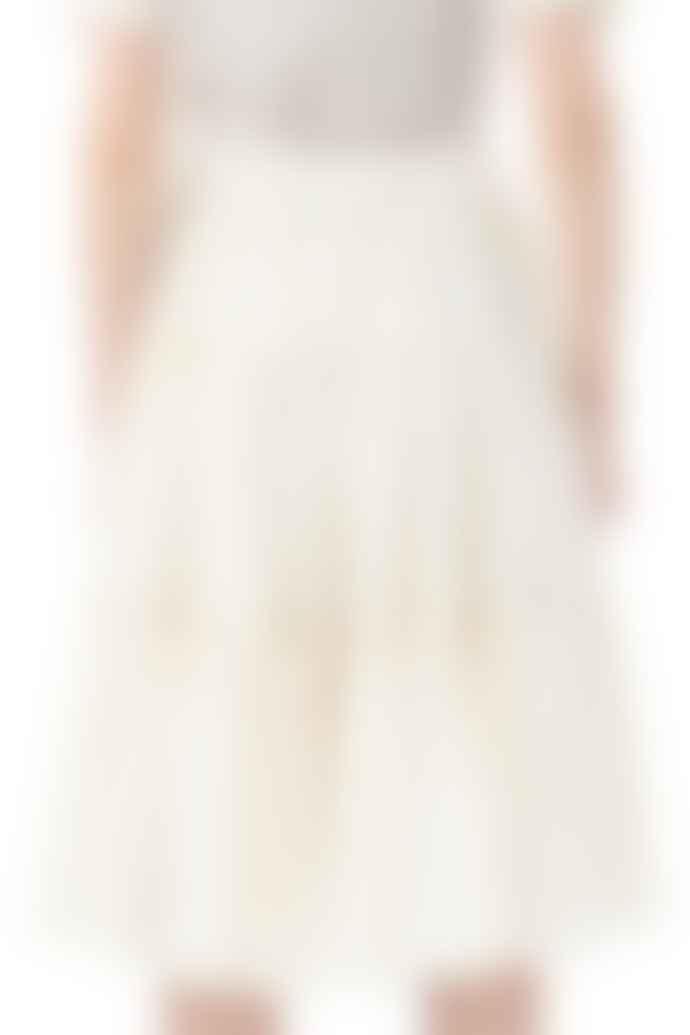 Cathrine Hammel Multi Peplum Midi Skirt Cream