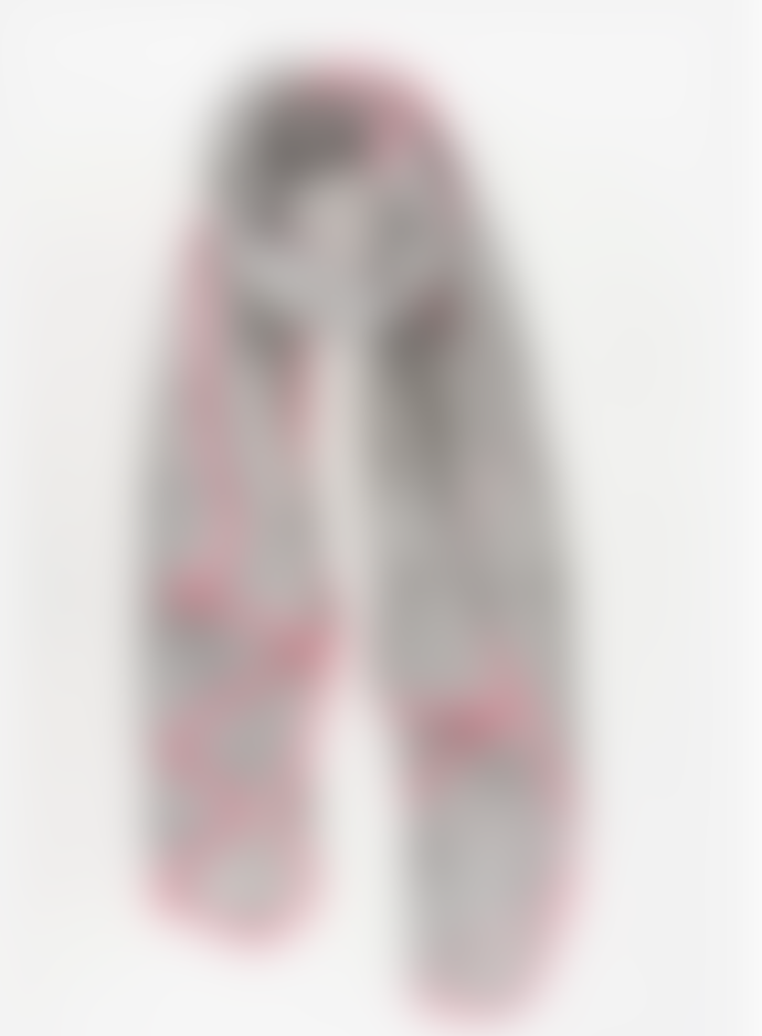 Hyde And Seek Light Grey and Hot Pink Scarf with Leaf Pattern