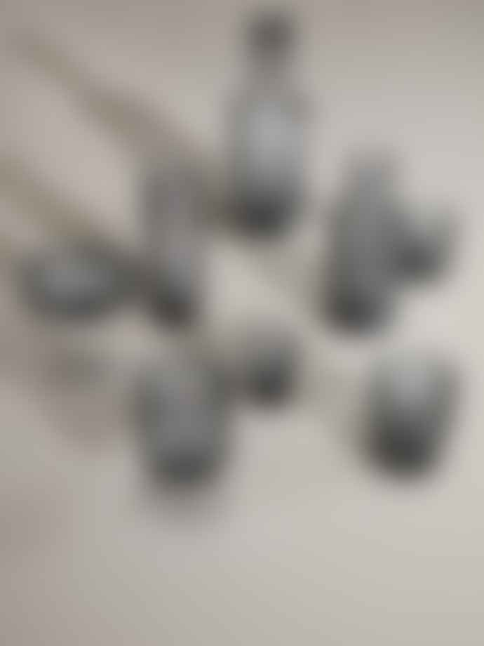 Ferm Living Set Of 4 Smoked Grey Ripple Shot Glasses