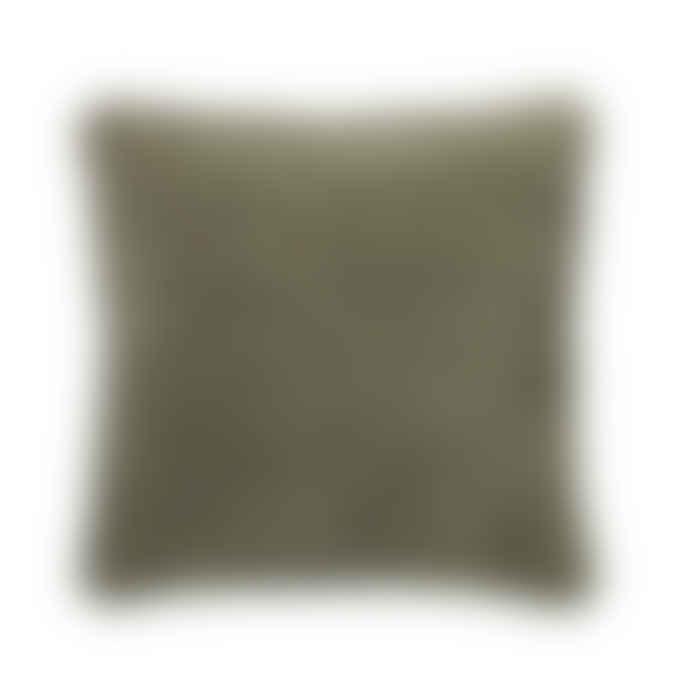 Broste Copenhagen 40 x 40cm Green Grey Cotton Velvet Chevron Cushion Cover