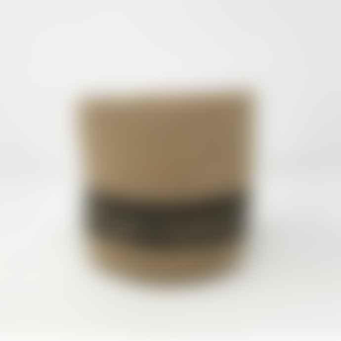 Garden Trading Natural & Black Striped Jute Pot